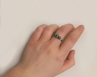 Teal bead ring