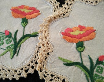 2 x Beautiful Hand Embroidered Doilies - Orange/Red Carnations