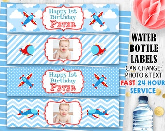 Airplane bottle labels Pilot labels Airplane bottle wraps Photo labels Digital printable Birthday labels Airplane Baby shower labels