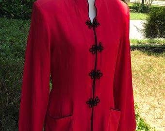 Diane K Asian Blazer-Red and Black Vintage Blazer-80s Vintage Blazer-80s Retro Blazer-Vintage Modern Style-Red Blazer-Blazer w/Shoulder Pads