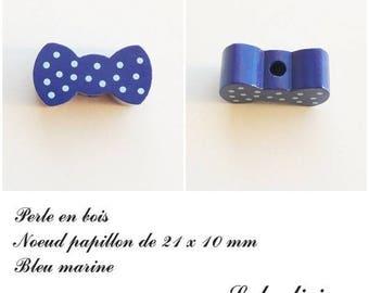 Wood 21 x 10 mm bead, Pearl flat bow tie: Navy Blue