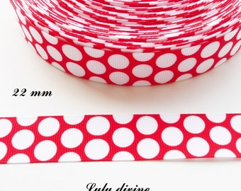Red dots of 22 mm grosgrain Ribbon sold by 50 cm