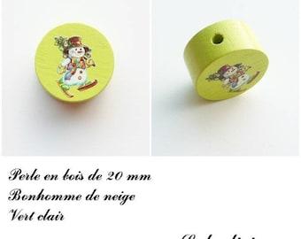 Wooden bead of 20 mm, flat bead snowman: light green