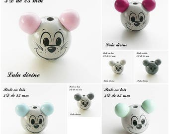 25 mm wooden bead, Pearl 3D mouse head