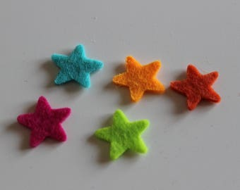 Small embellishments-star felt 5 colors