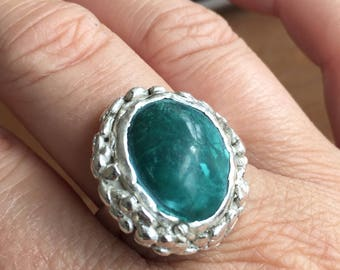 Ring of silver clay with chrysocolla