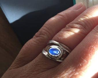 Ring of silver clay with saffiertje