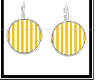 """Earrings,"" simply yellow & white """