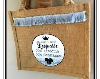 "Burlap bag, gray tassel fringe ""I'm a Licornasse...  ""humor, funny, derision, tote bags"