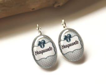 "Original earrings & single ""Miss Craquante"" heart, bow, black, grey polka dot grey polka dots"