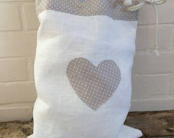 Heart decor white linen lingerie bag