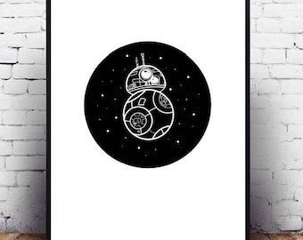 Star Wars minimalist black and white printable wall art poster, bb8 fanart for wall decor, cute Star Wars design, children's bedroom