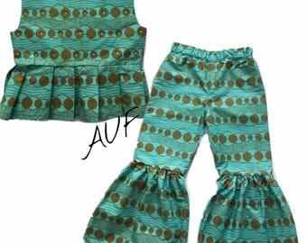 African Print peplum top & Bell bottom pants