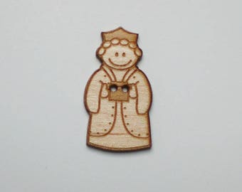 """King wood buttons 9 mage """"Melchior"""" of Maple 2.5 cm - wise decorative wooden button - set of 9 buttons of maple wood King mage """"Melchior"""""""