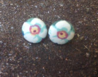 Flower Cover Button Earrings