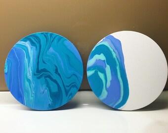 Round canvas set of 2