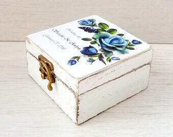 Wedding ring box blue rose, Ring bearer box, Personalized box, Wedding ring holder, Custom ring box, Wreath wedding box, Wooden proposal box