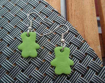 EARRINGS COLLECTION BEARS GREEN TEDDY BEAR