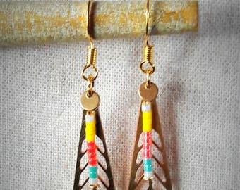 Miyuki beads and gold metal dangling earrings