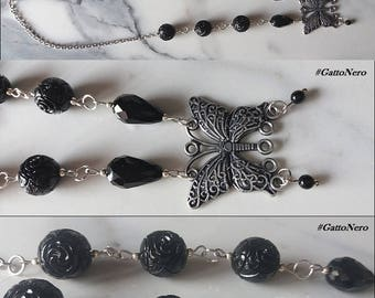 Resin beads and Butterfly charm necklace