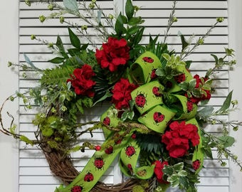 Ladybug Wreath, Summer Wreath, Summer Door Decor, Whimsical Wreaths, Red Geranium Wreath, Gift