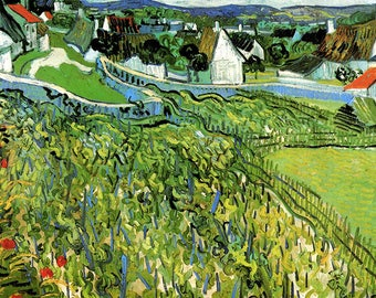 PLACEMAT ORIGINAL SEMI-RIGID AESTHETIC WASHABLE AND DURABLE. Van Gogh. Vines overlooking Auvers