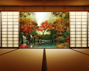 SEMI-rigid PLACEMAT, ORIGINAL design, WASHABLE and durable - Japanese home overlooking the garden.