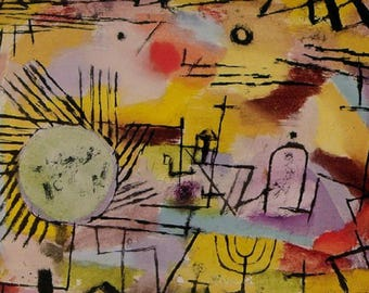 SET of TABLE semi-rigid ORIGINAL AESTHETIC WASHABLE and durable - Abstract artists - Paul Klee - rising sun.