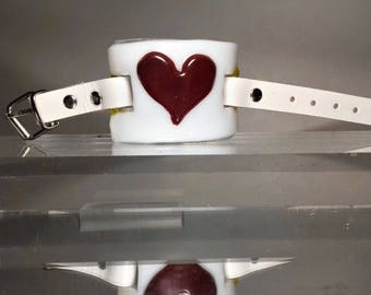 White Glass Heart With Red Glass Heart