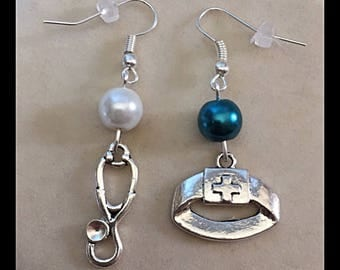 """Earrings mismatched medical """"cuff and stethoscope"""""""