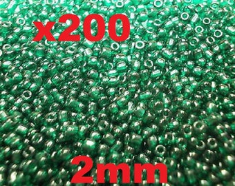 Green seed beads