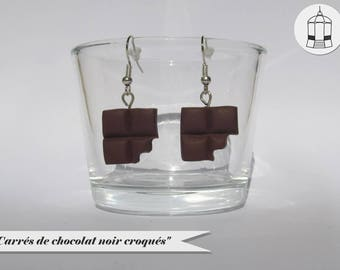 Boucles d'oreilles - Carrés de chocolat croqués