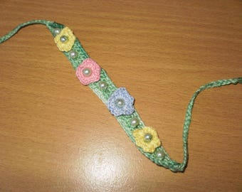 Cotton decorated with flowers and pearls bracelet