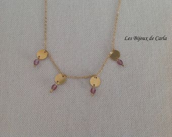 Gold plated necklace with tiny discs and beads