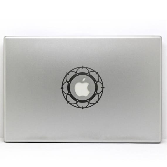 Minimalist Apple Mandala decal sticker for Macbooks and other Laptops that have round logos, Mandalas Sacred Geometry, Vinyl decals, mac