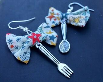 Earrings table! Star fabric bow