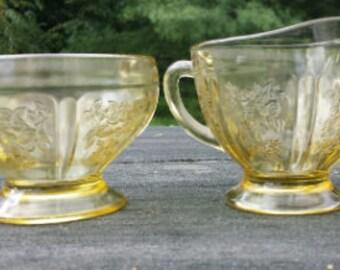 Patrician Spoke Creamer and Sugar Bowl Amber Florentine Federal Glass 1930s D020