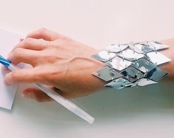 Faux Leather Silver Scale Bracelet