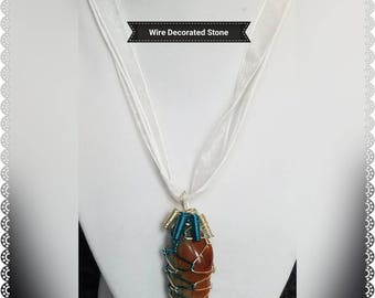 Wire Wrapped Brown and White Pendant, Wire Wrapped Brown and White Polished Stone