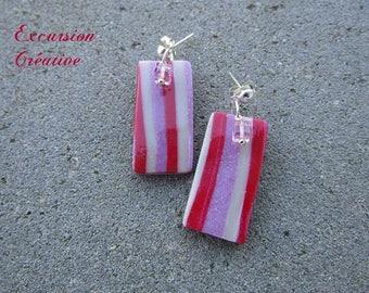 """Humbug"" earrings in polymer clay of various roses and Crystal Stud Earrings"