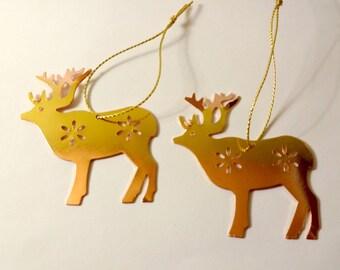 2 ornaments of Christmas - Golden reindeer - embellishments - Christmas tree