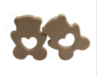 Baby teething ring wooden Teddy bear and heart
