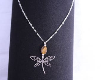 """Tiger's eye """"shield"""" necklace chain Silver 925 finished with a Dragonfly"""