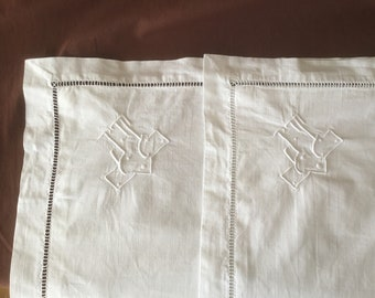 Pillowcases. 2 Antique handembroidered linen pillowcases with monogram JT in Art Deco style. Vintage pillowcase Taie D'oreiller ancienne
