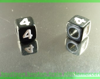 number 4 cube bead 7 mm black and white plastic