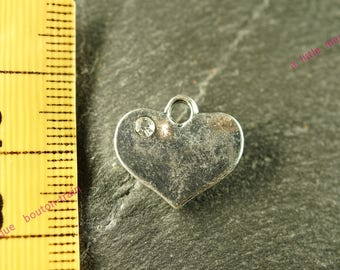 metal and Rhinestone Heart Charm pendant