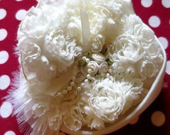 "Shabby Chic ""PRELUDE"" chiffon ivory flower brooch"