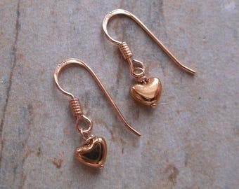 22k Rose Gold Vermeil Small Heart Drop Earrings