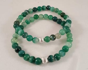 Beautiful filigree gemstone bracelet made of green agate and 925 silver bead