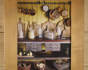 KITCHEN PHOTO STAINED WOOD FRAME
